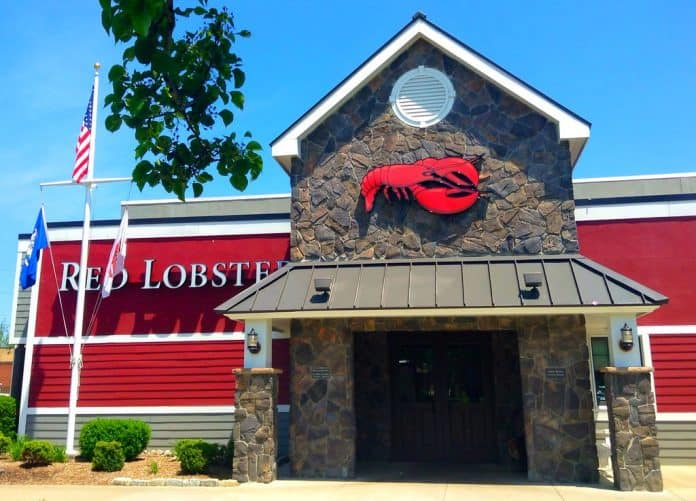 Outside entrance to a Red Lobster restaurant