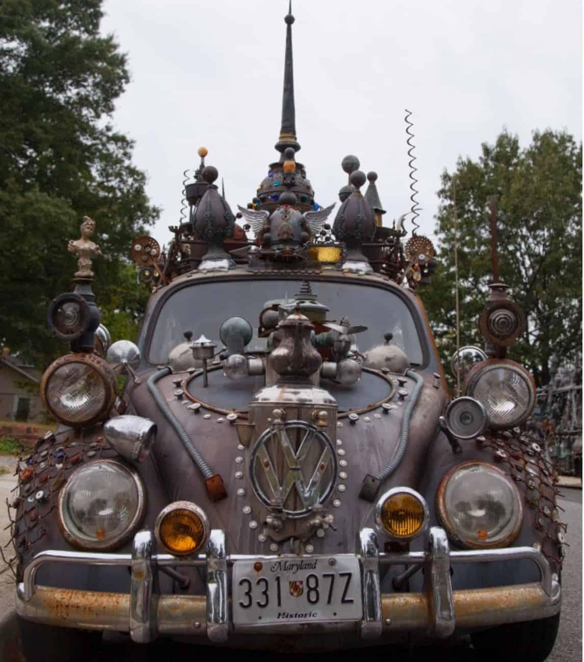 Art car, Volkswagen beetle covered in pieces of metal
