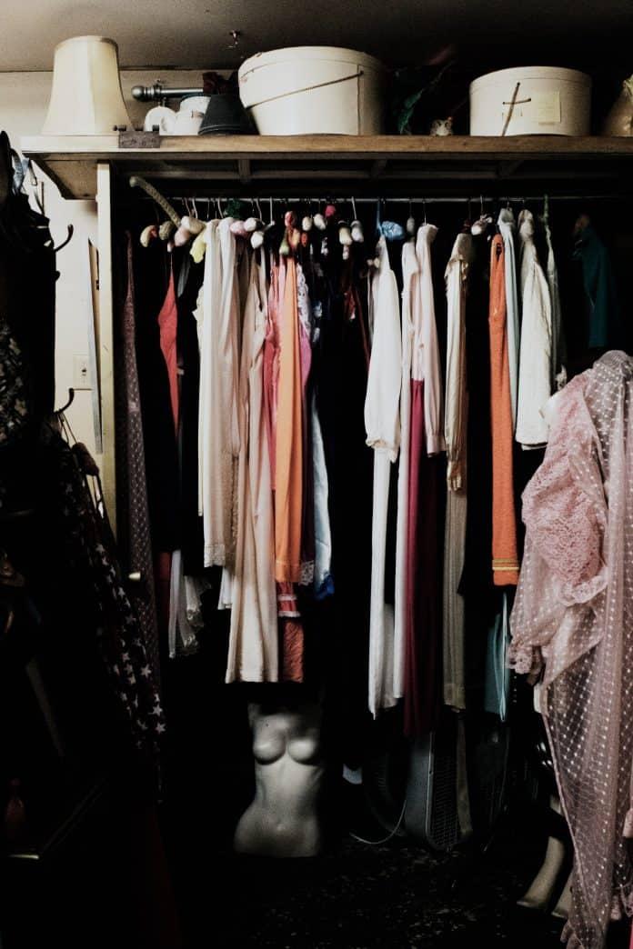 Vintage clothing rack in store