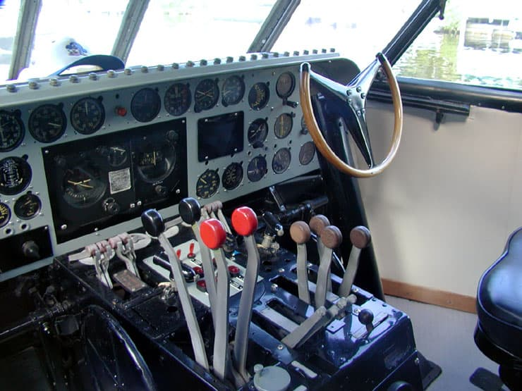 Plane controls in the plane boat. The controls are that of a plane.