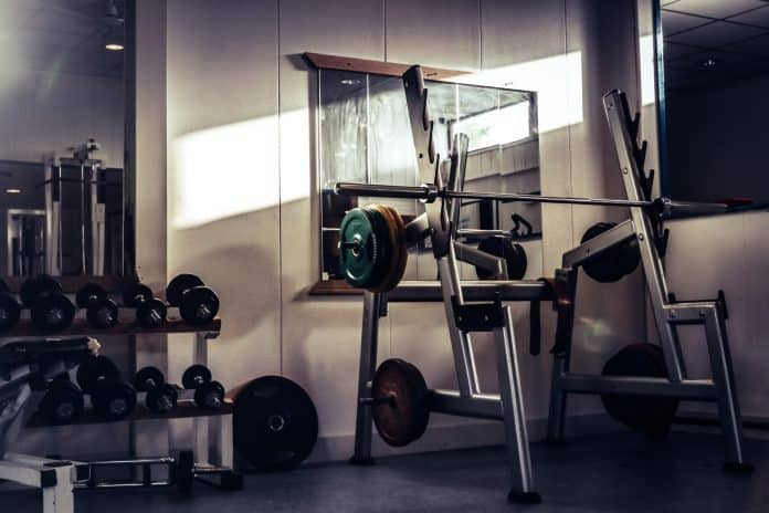 Gym equipment and free weights set up