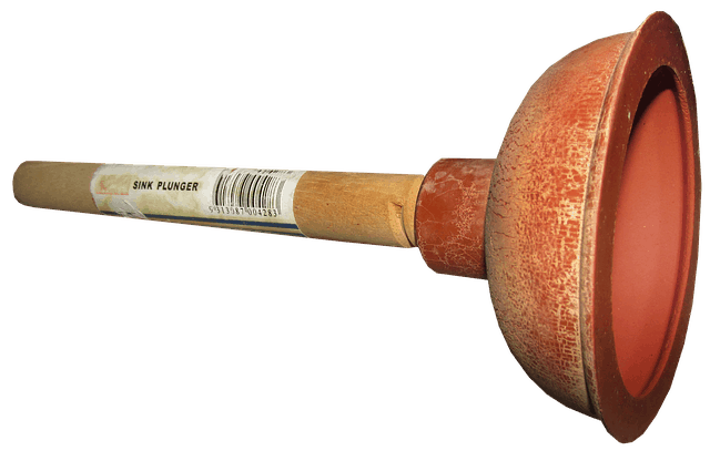 Red cup plunger with wooden stick
