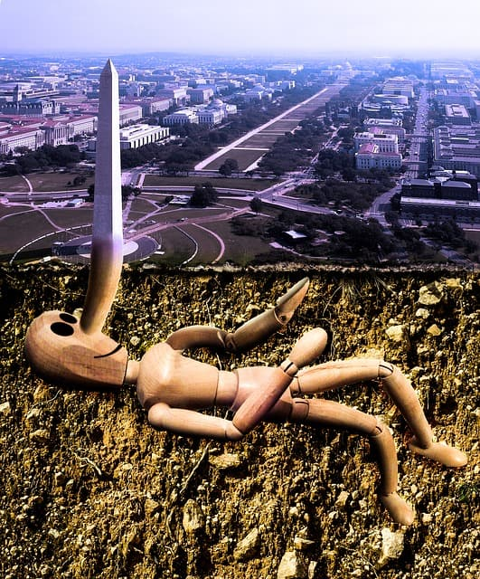 Wooden figure doll buried underground, with it's nose pointing up to the surface, and turns into the Washington Monument