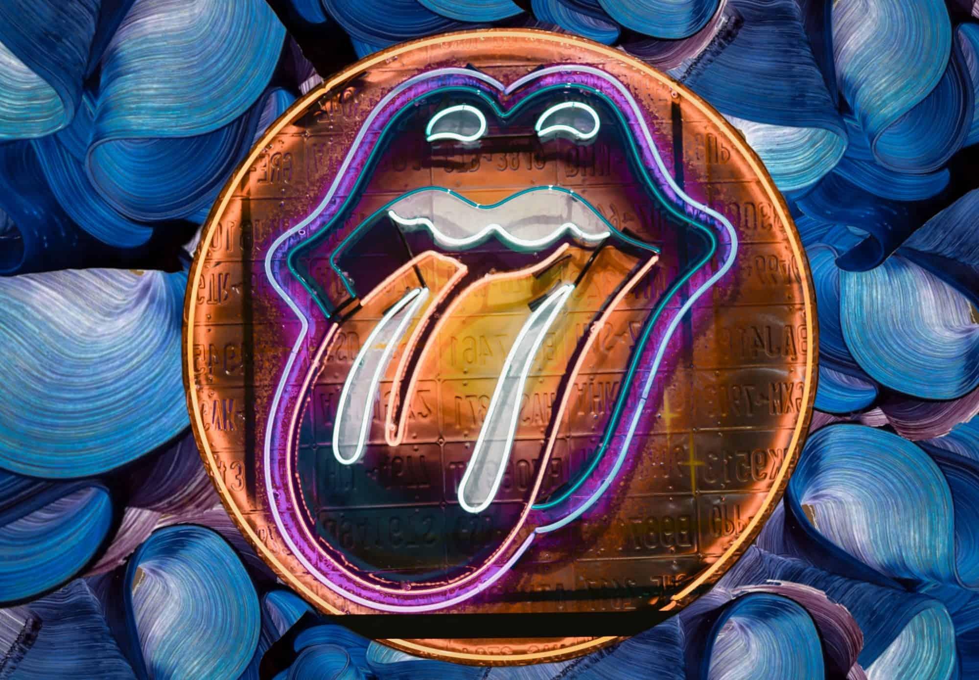 Neon Rolling Stones logo